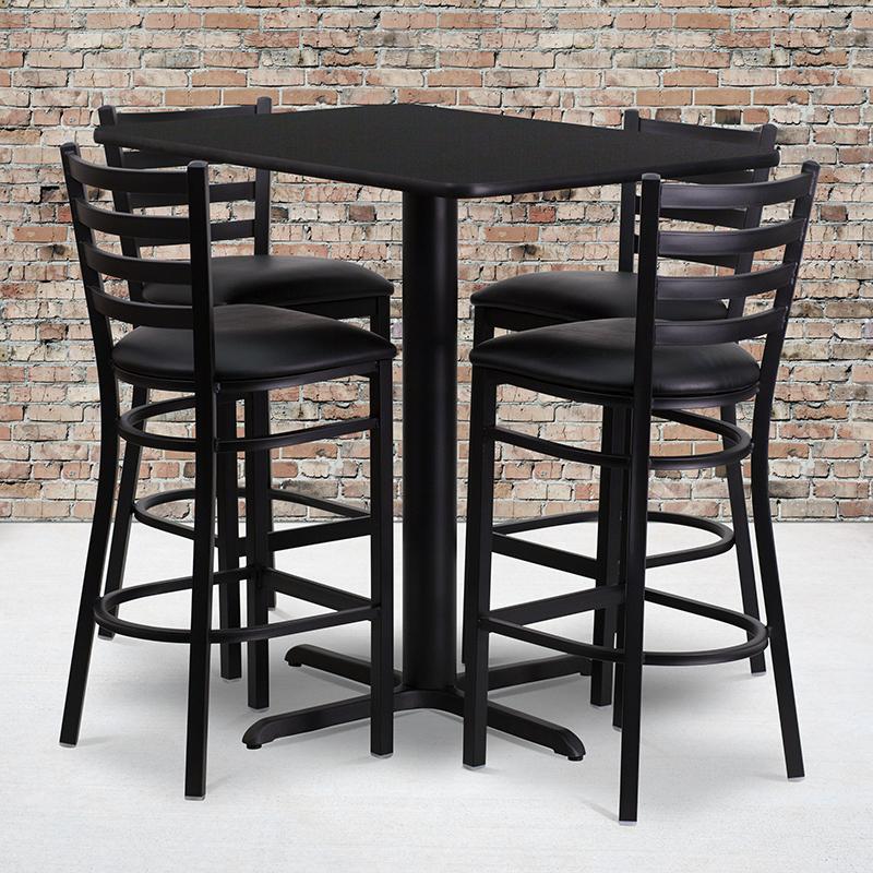 Rectangular   Furniture   Laminate   Barstool   Vinyl   Flash   Metal   Table   Black   Seat   Back   Set