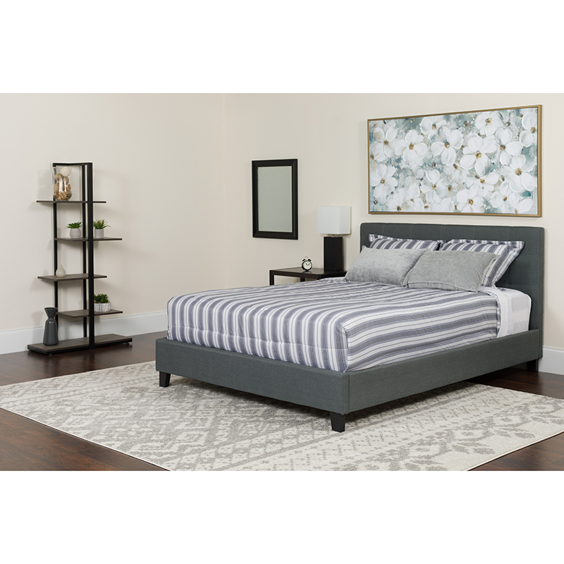 Twin Tufted Upholstered Platform Bed Gray Fabric Memory Foam Mattress