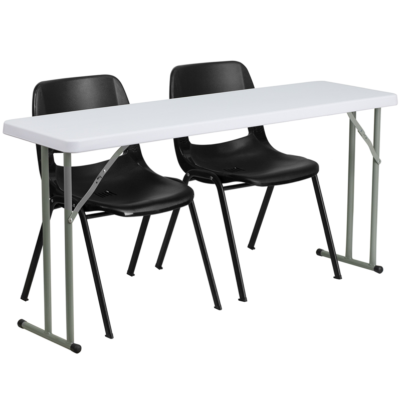 18''W x 72''L Granite White Plastic Folding Training Table - Flash Furniture RB-1872-GG