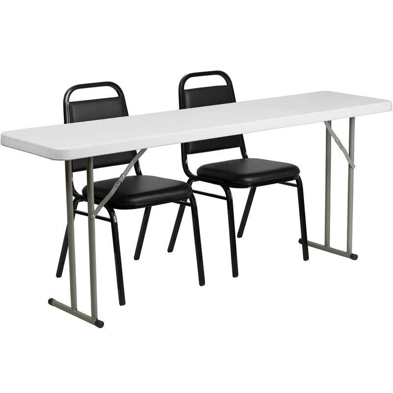 18''W x 96''L Granite White Plastic Folding Training Table - Flash Furniture RB-1896-GG