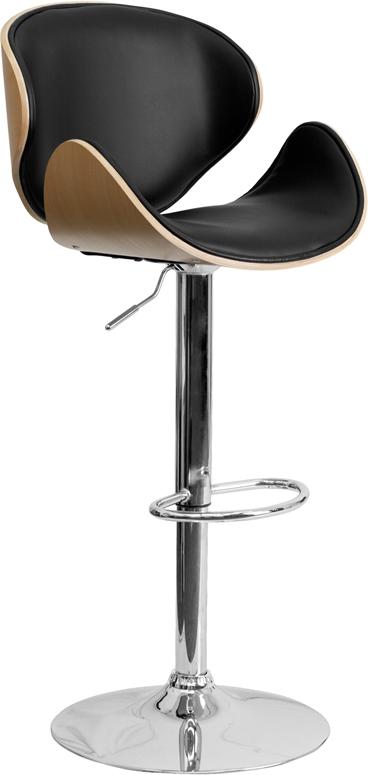 Adjustable | Furniture | Height | Walnut | Vinyl | Flash | Stool | Black | Seat | Back | Bar