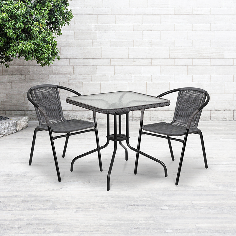 23.5'' Round Aluminum Indoor-Outdoor Table w/ Base - Flash Furniture TLH-052-1-GG