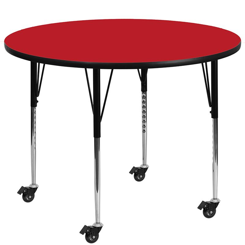 Adjustable   Furniture   Laminate   Pressure   Standard   Height   Yellow   Flash   Round   Table   High   Leg   Top