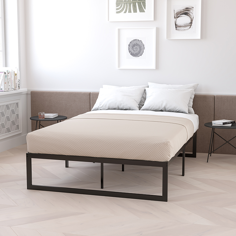 14 Inch Metal Platform Bed Frame - No Box Spring Needed with Steel Slat Support and Quick Lock Functionality (Queen) - Flash Furniture XU-BD10001-Q-GG
