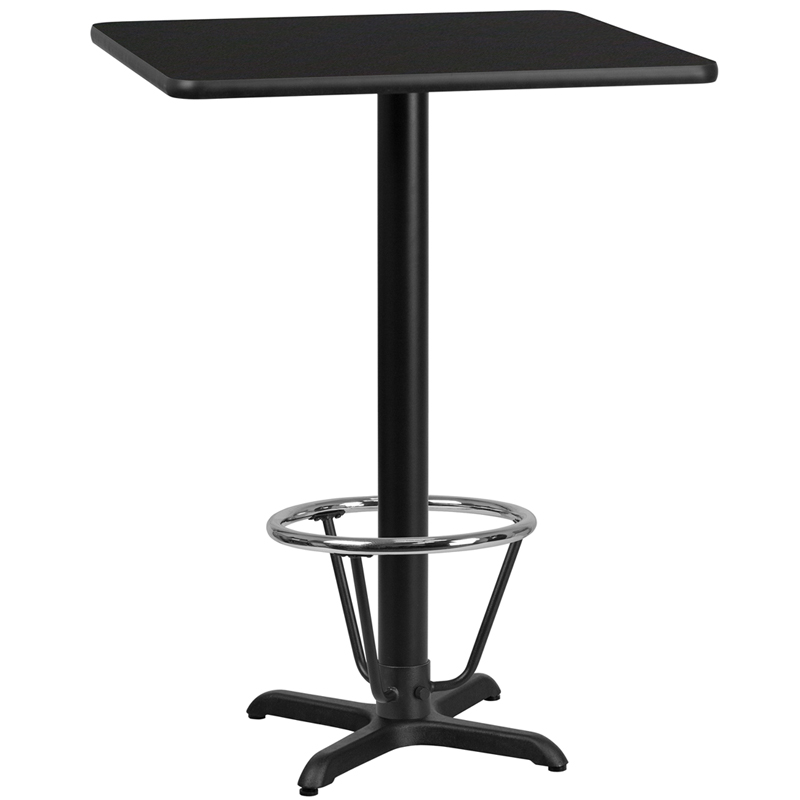 24' Square Black Laminate Table Top With 22' X 22' Bar Height Table Base And Foot Ring - Flash Furniture Xu-blktb-2424-t2222b-3cfr-gg