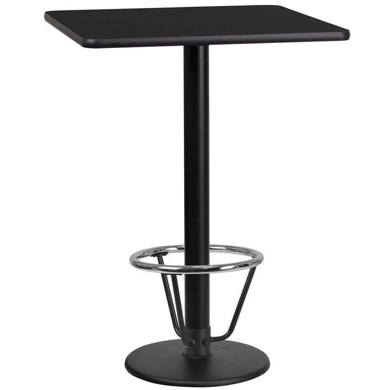 24' Square Black Laminate Table Top With 18' Round Bar Height Table Base And Foot Ring - Flash Furniture Xu-blktb-2424-tr18b-3cfr-gg