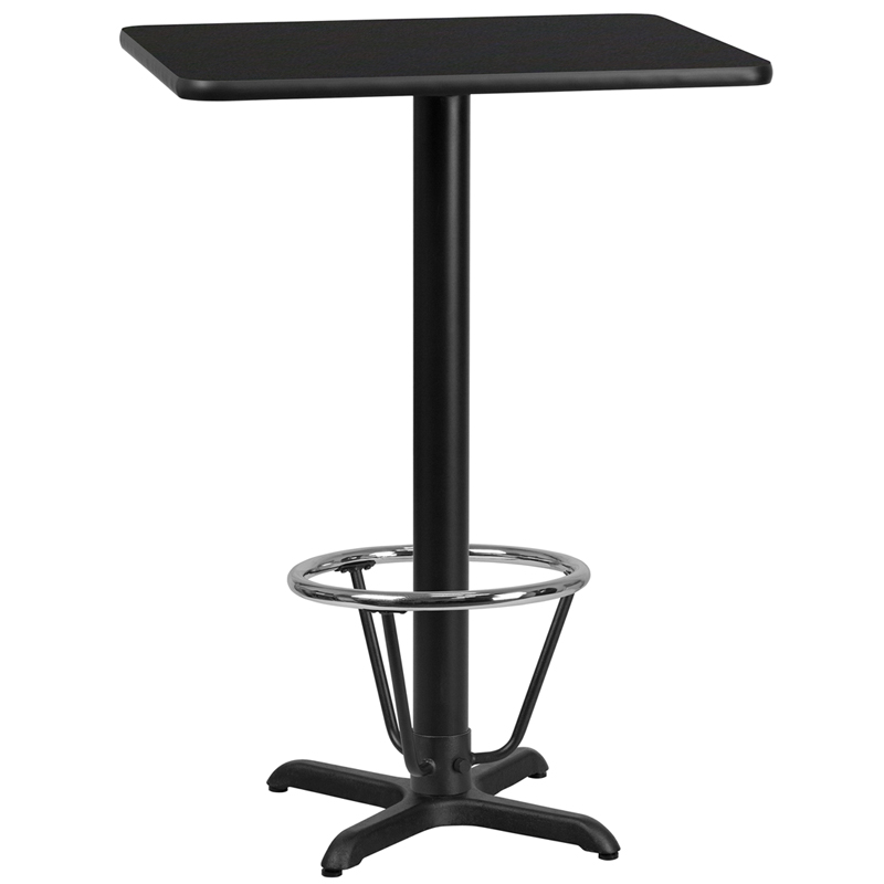 24' X 30' Rectangular Black Laminate Table Top With 22' X 22' Bar Height Table Base And Foot Ring - Flash Furniture Xu-blktb-2430-t2222b-3cfr-gg