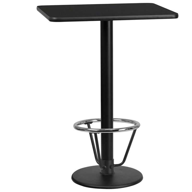 24' X 30' Rectangular Black Laminate Table Top With 18' Round Bar Height Table Base And Foot Ring - Flash Furniture Xu-blktb-2430-tr18b-3cfr-gg