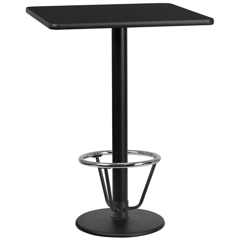 30' Square Black Laminate Table Top With 18' Round Bar Height Table Base And Foot Ring - Flash Furniture Xu-blktb-3030-tr18b-3cfr-gg