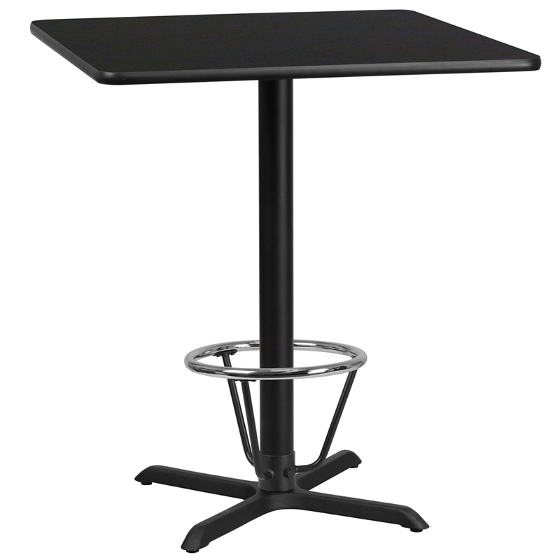 36' Square Black Laminate Table Top With 30' X 30' Bar Height Table Base And Foot Ring - Flash Furniture Xu-blktb-3636-t3030b-3cfr-gg