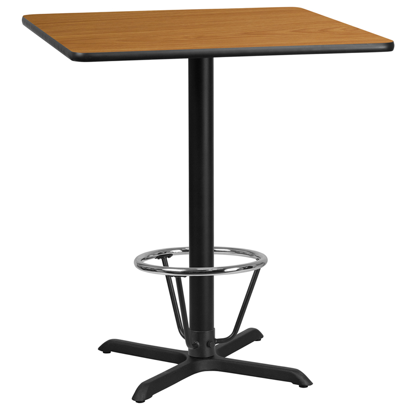 36' Square Natural Laminate Table Top With 30' X 30' Bar Height Table Base And Foot Ring - Flash Furniture Xu-nattb-3636-t3030b-3cfr-gg