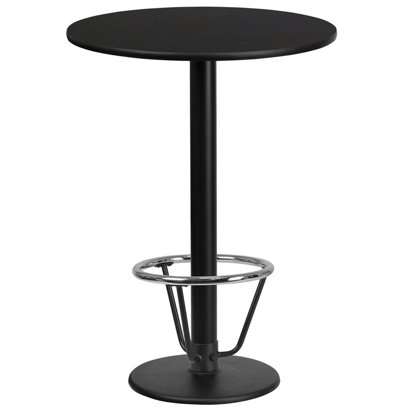 24' Round Black Laminate Table Top With 18' Round Bar Height Table Base And Foot Ring - Flash Furniture Xu-rd-24-blktb-tr18b-3cfr-gg