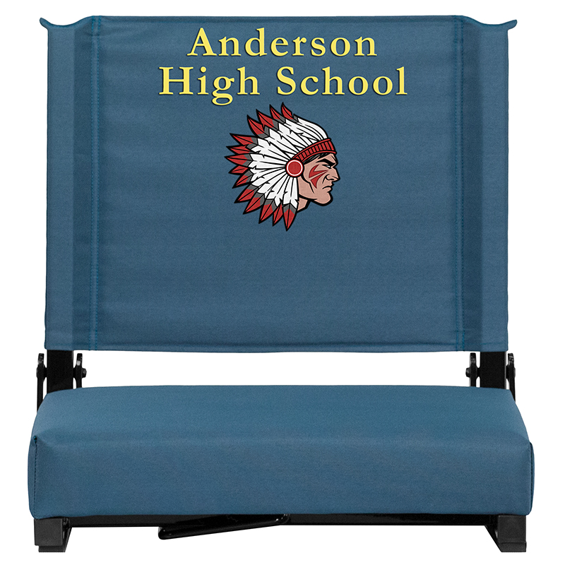 Embroidered Grandstand Comfort Seats By Flash With Ultra-padded Seat In Teal - Flash Furniture Xu-sta-gn-emb-gg