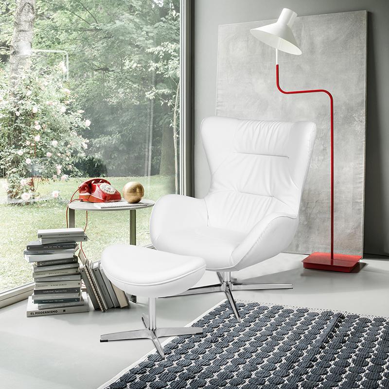 Furniture | Ottoman | Leather | Flash | Chair | White