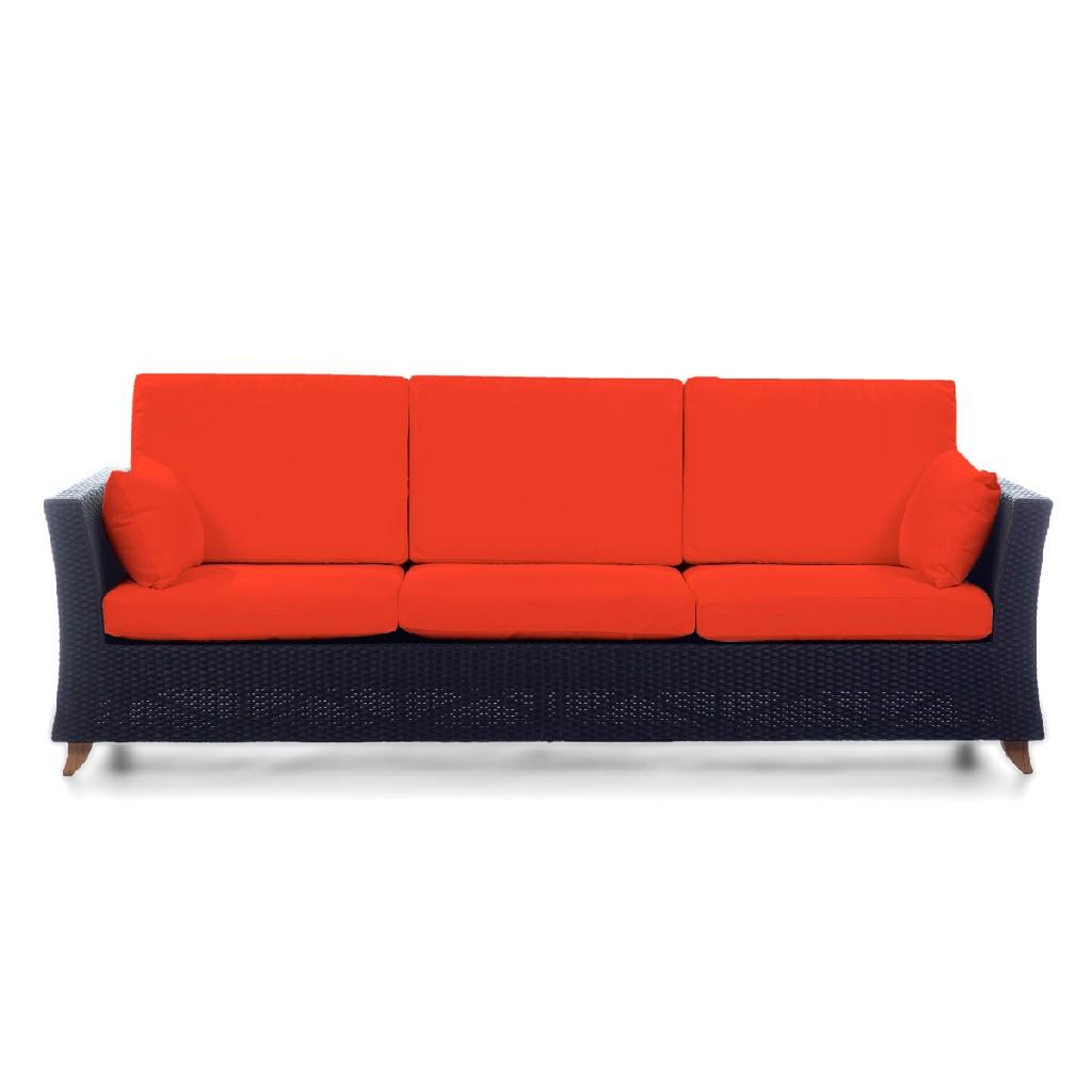 Things Cedar Deep Seating Sofa Rattan Orange
