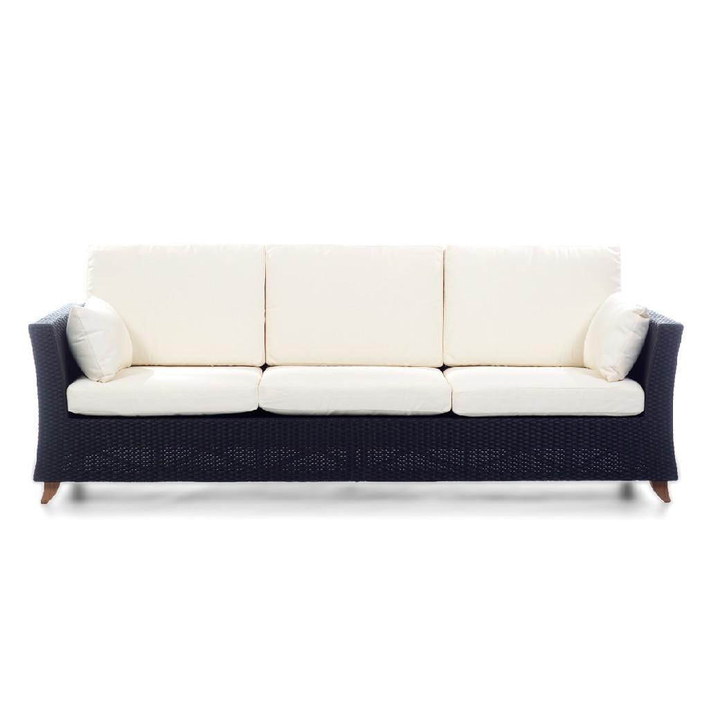 All Things Cedar Rattan Deep Seating Sofa Cushions White