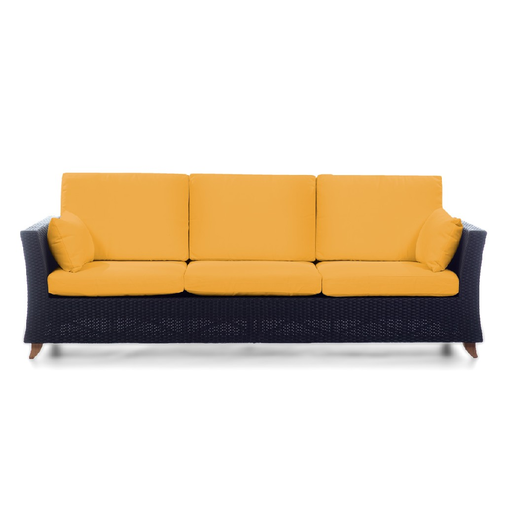 All Rattan Deep Seating Sofa Cushions Yellow Image