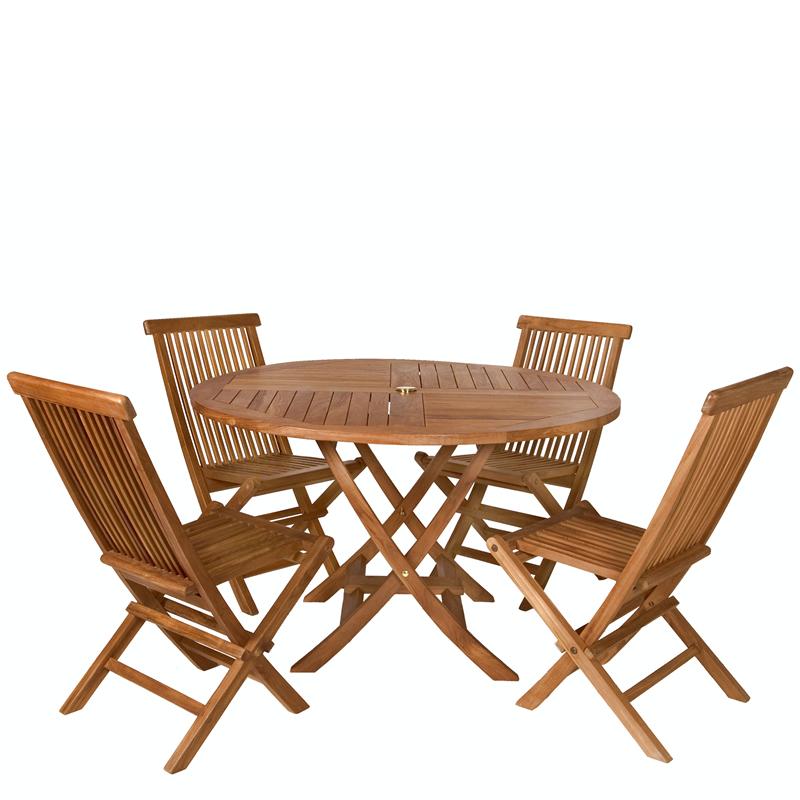5-Piece Octagon Folding Table Set & Cushion, Red - All Things Cedar TT5P-O-R