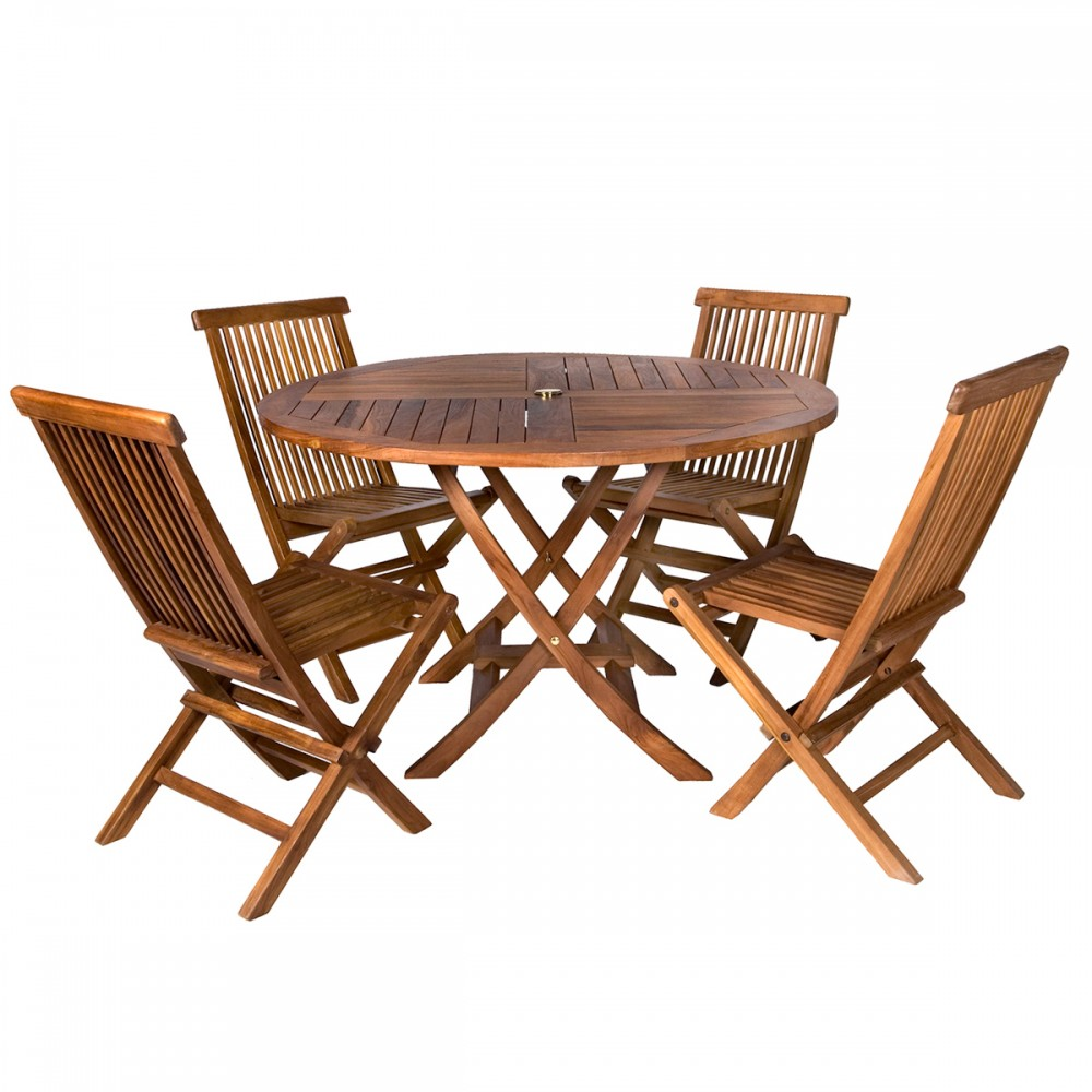 5-Piece Round Folding Table Set & Cushions - All Things Cedar TT5P-R
