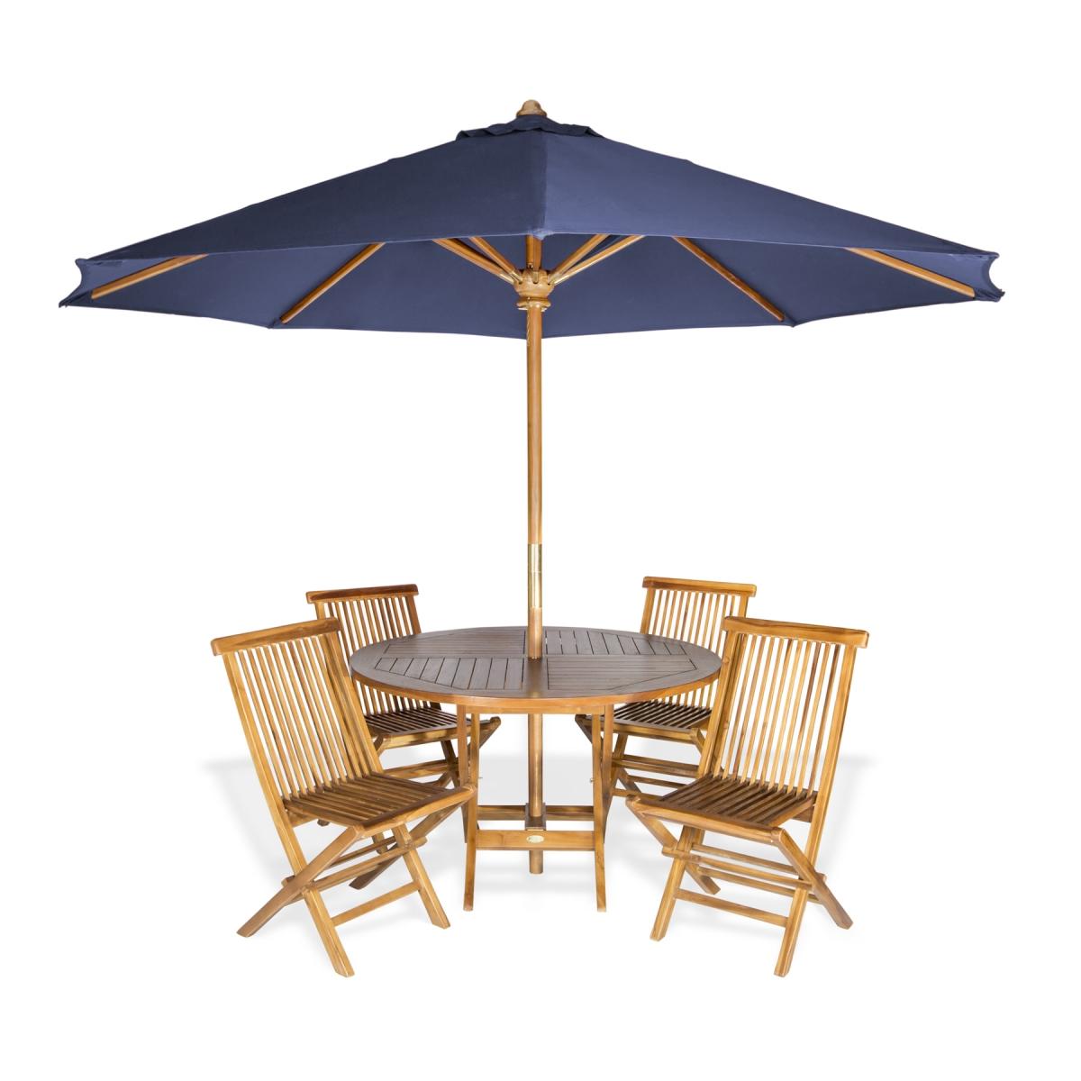 6-Piece Round Folding Table Set & Umbrella, Blue - All Things Cedar TT6P-R-B