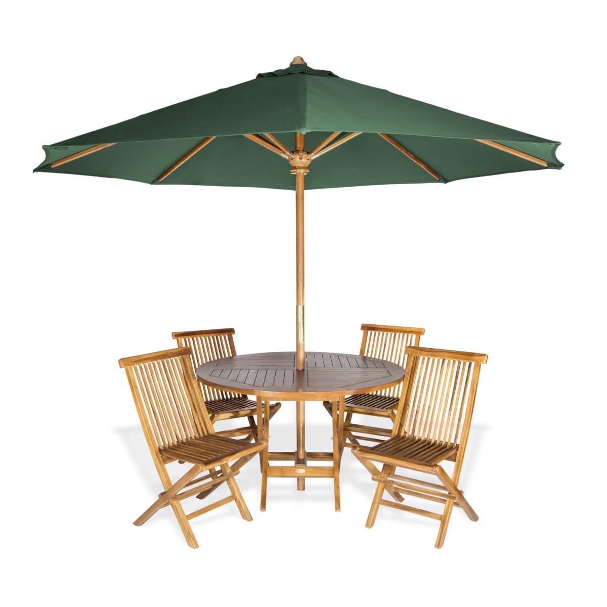 6-Piece Round Folding Table Set & Umbrella, Green - All Things Cedar TT6P-R-G