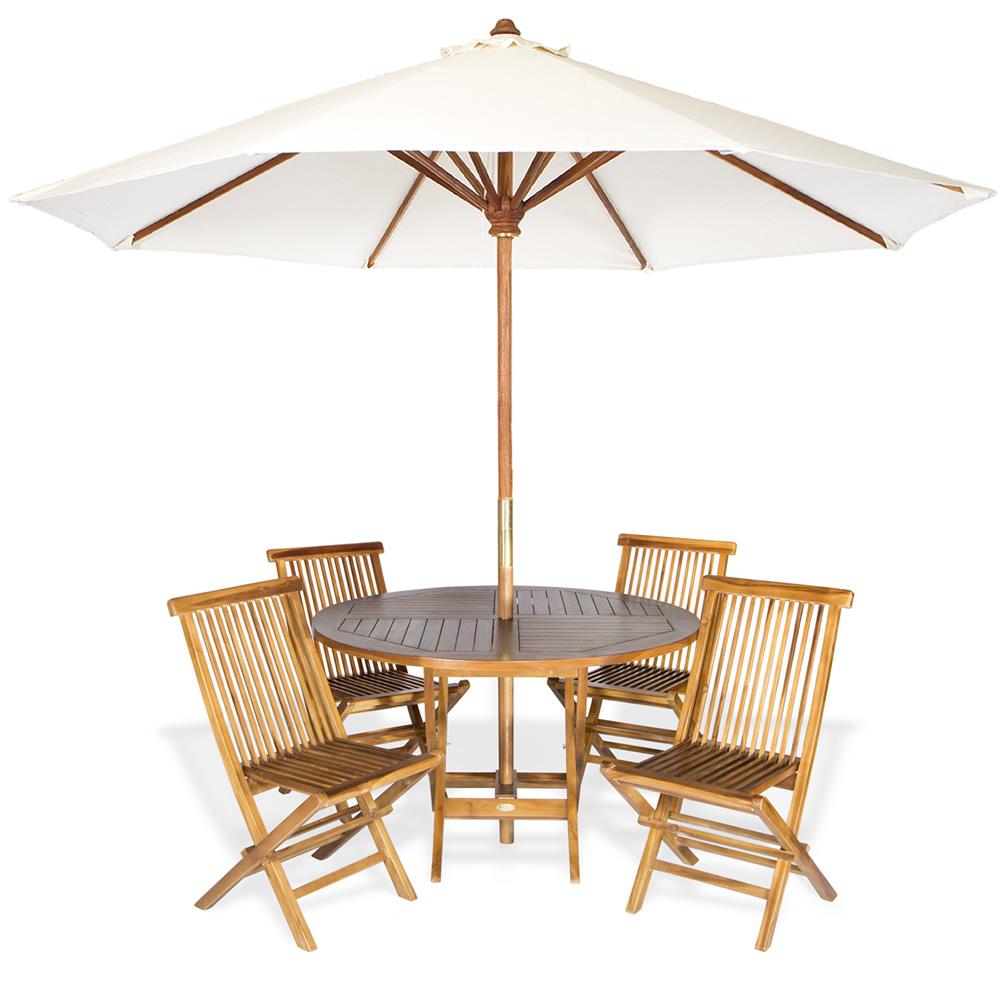 6-Piece Round Folding Table Set & Umbrella, White - All Things Cedar TT6P-R-W