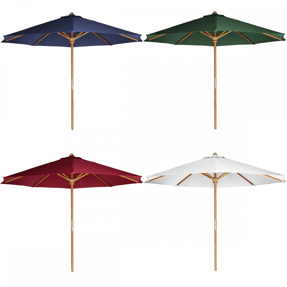 10-ft Teak Market Umbrella & Canopy, Blue - All Things Cedar TU90-B