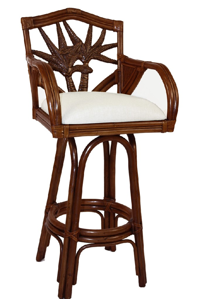 """Cancun Palm Indoor Swivel Rattan & Wicker 24"""" Counterstool in TC Antique Finish"""