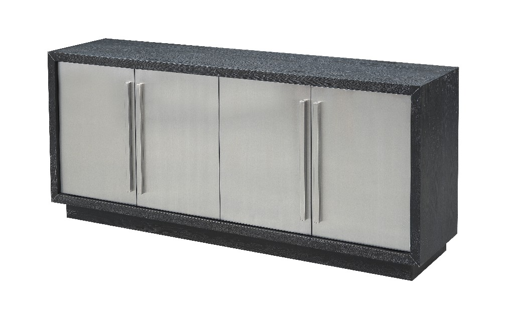 Coast To Coast Four Door Media Credenza Charcoal Stainless Steel