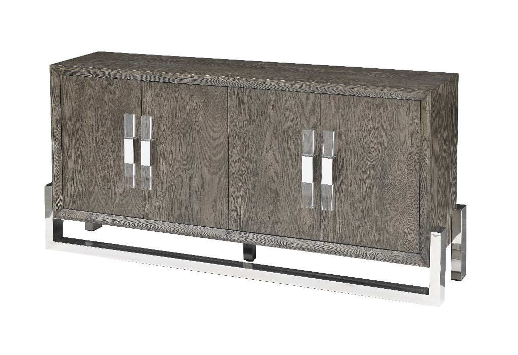Coast To Coast Four Door Media Credenza Taupe Grey Stainless Steel