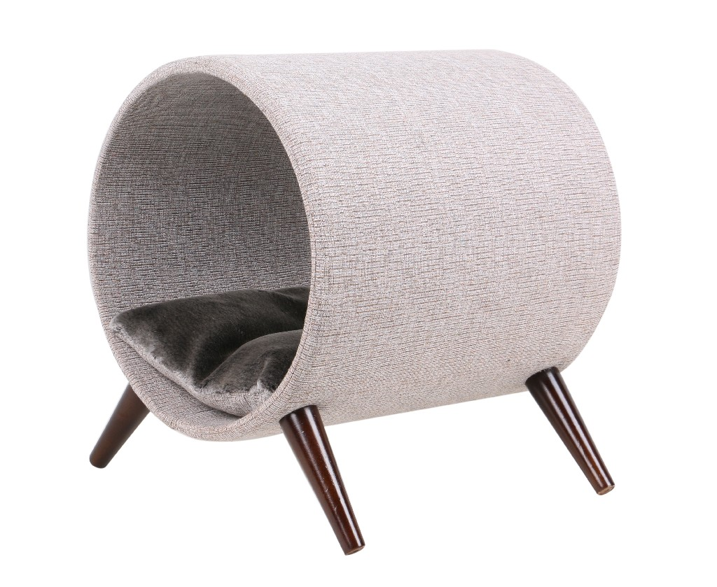 "Cat Craft 15"" Tunnel Bed Grey - Brown Wooden Legs - 4308601"