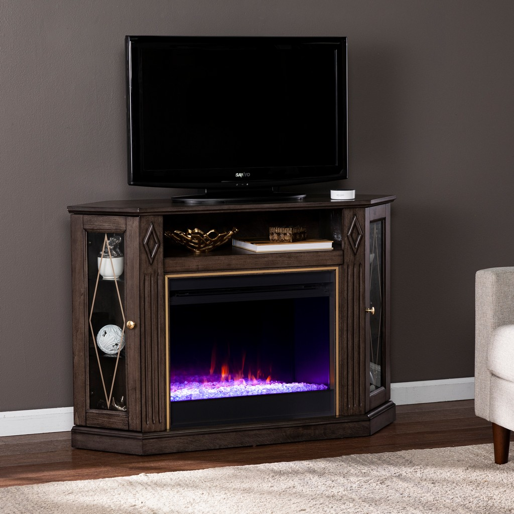 Austindale Color Changing Fireplace with Media Storage - Southern Enterprises FC1137556
