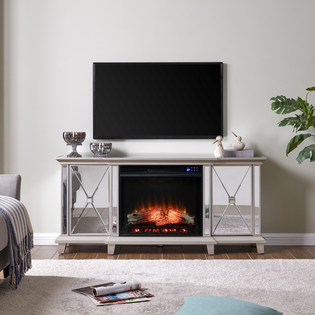 Southern Enterprises Toppington Mirrored Electric Fireplace Media Console