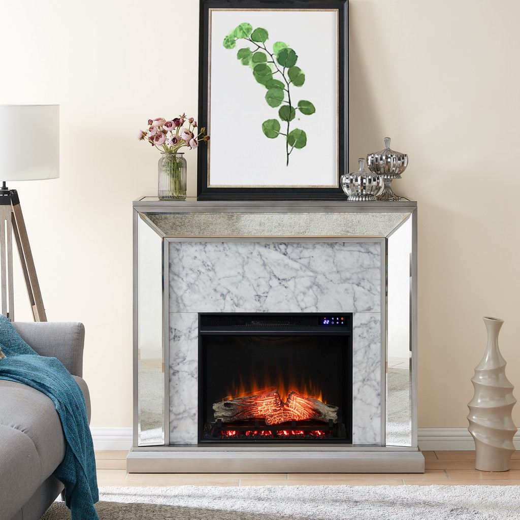 Southern Enterprises Trandling Mirrored Faux Marble Electric Fireplace