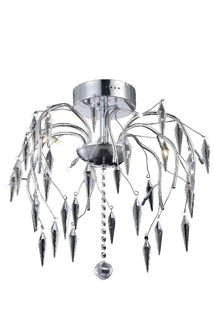 Elegant   Crystal   Chrome   Flush   Clear   Mount   Light   Cut