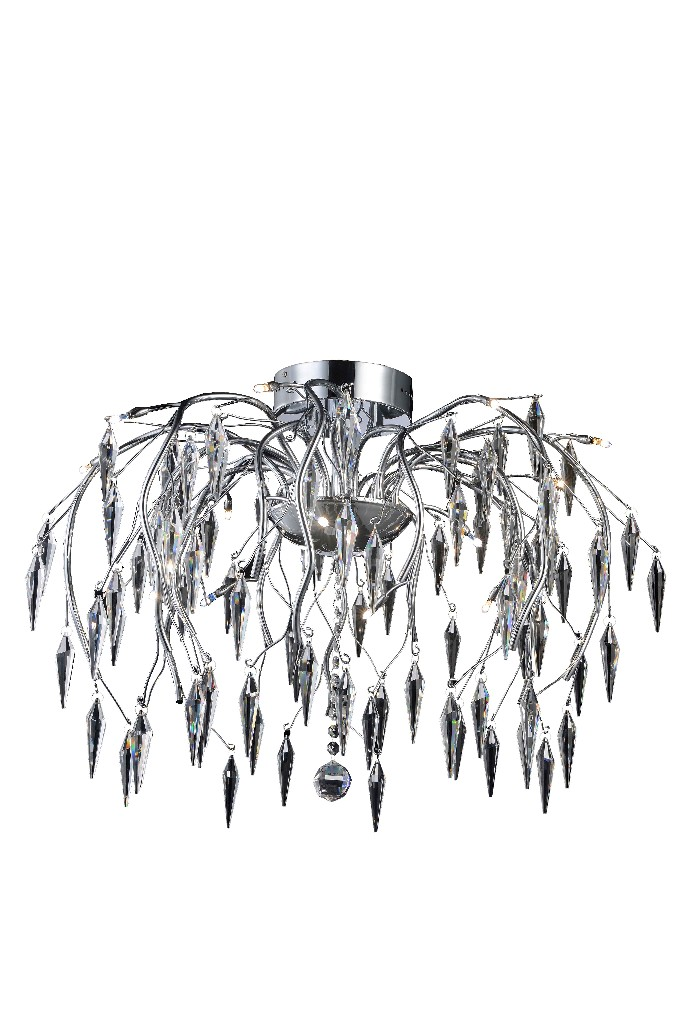 Elegant Lighting Amour Light Chrome Flush Mount Clear Elegant Cut Crystal