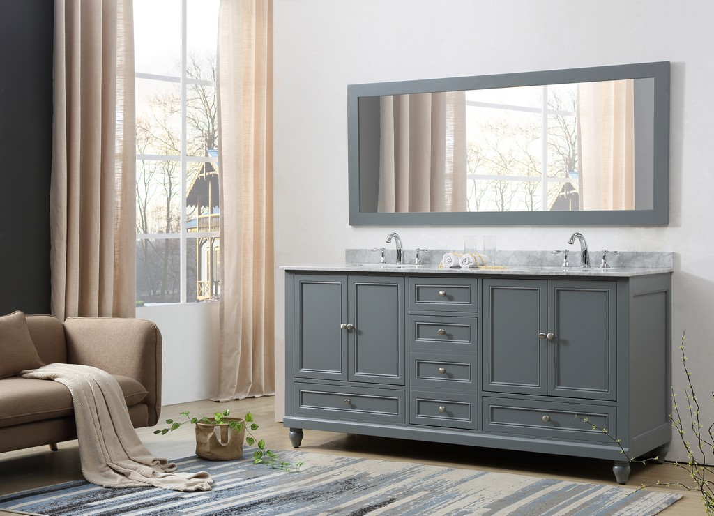 Classic 72 In. Vanity in gray With Carrara White Marble Vanity Top with white basins and Mirror - JJ-72D9-GWC-M