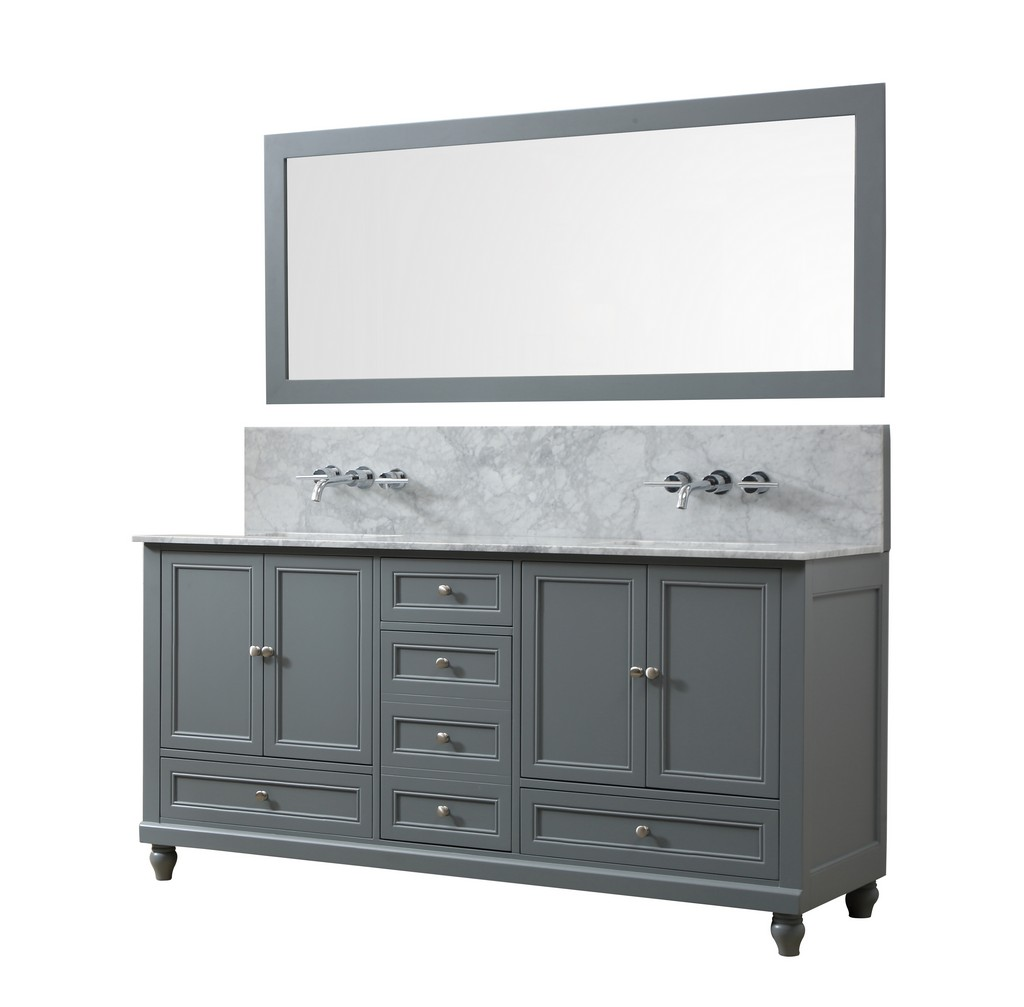 Classic Premium 72 In. Vanity in gray With Carrara White Marble Vanity Top with white basins and Mirror - JJ-72D9-GWC-WM-M