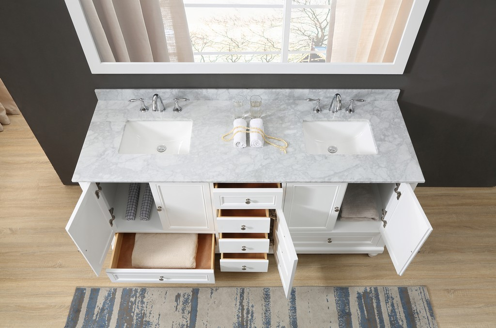 Classic 72 In. Vanity In White With Carrara White Marble Vanity Top with white basins and Mirrors - JJ-72D9-WWC-2M