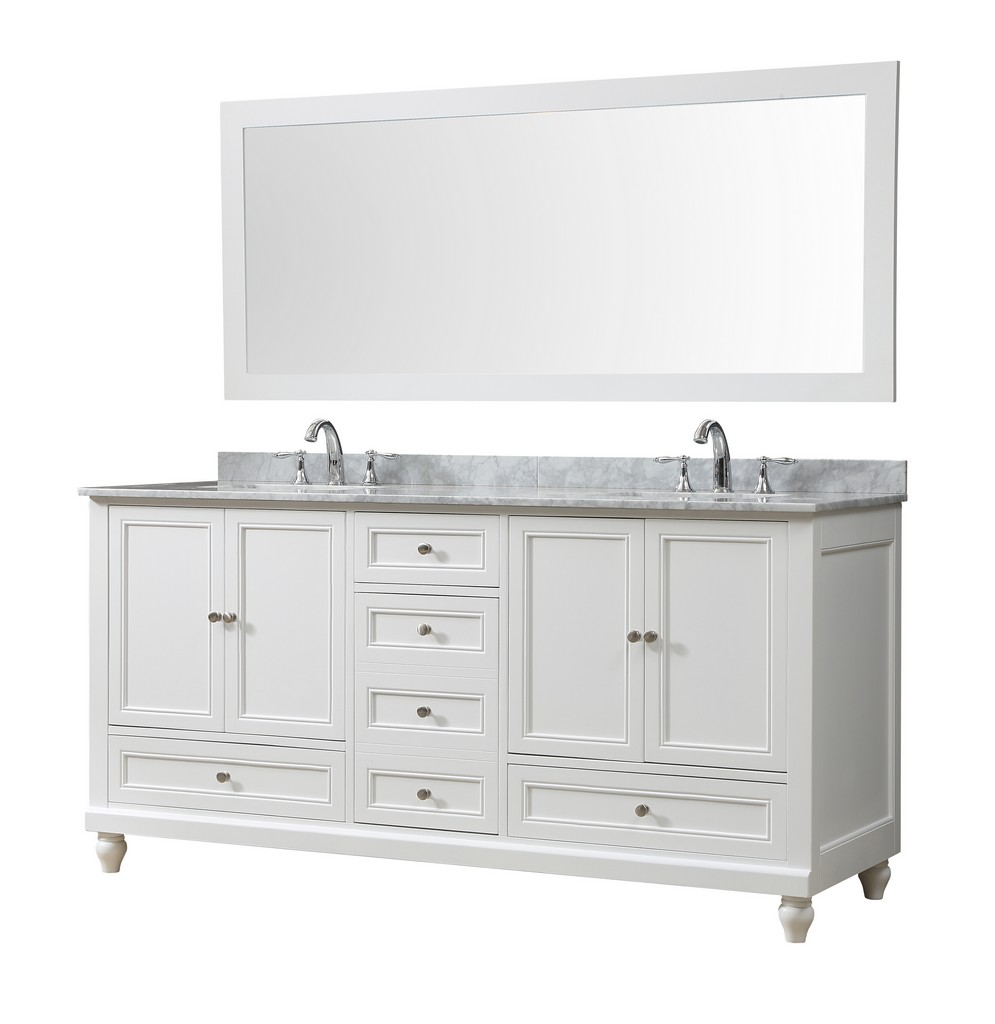 Classic 72 In. Vanity In White With Carrara White Marble Vanity Top with white basins and Mirror - JJ-72D9-WWC-M