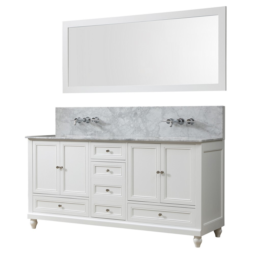 Classic Premium 72 In. Vanity In White With Carrara White Marble Vanity Top with white basins and Mirror - JJ-72D9-WWC-WM-M