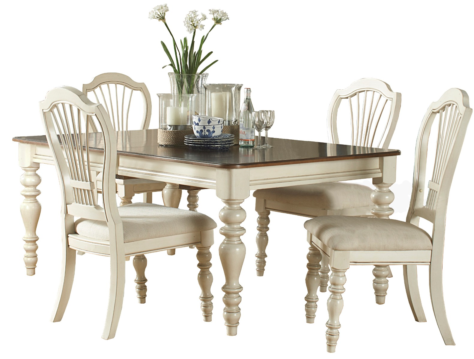 Pine Dining Set Wheat Back Chairs