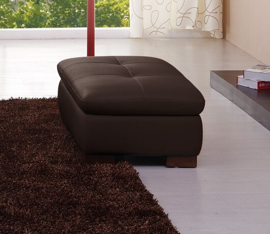 J&M Furniture 625 Italian Leather Ottoman in Brown - J&M 175443111-OTT-BW