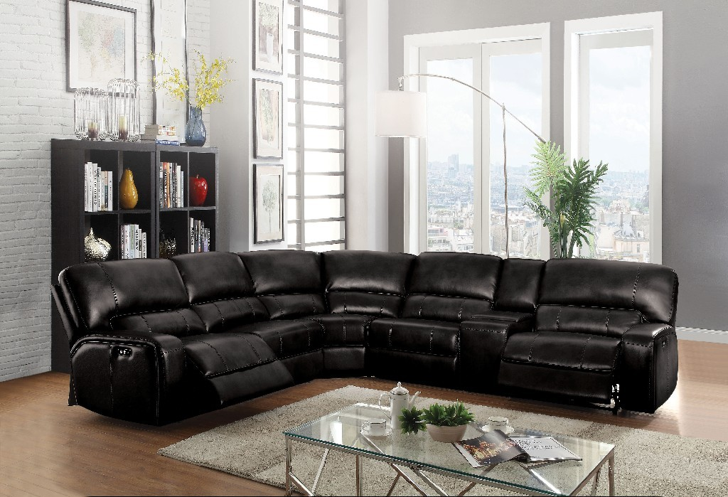 Acme Saul Sectional Sofa Power Motion Usb Black Leather Aire