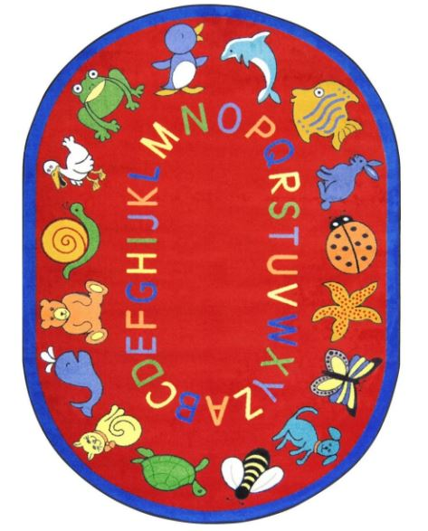 ABC Animals Kids Rug in Red (5
