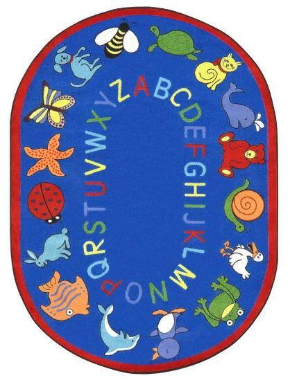 ABC Animals Kids Rug in Blue (7