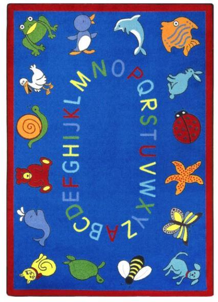 ABC Animals Kids Rug in Blue (10