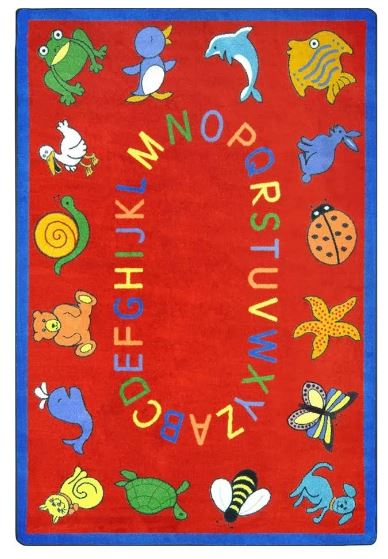 ABC Animals Kids Rug in Red (10