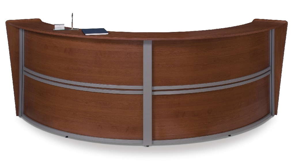 Ofm Marque Double Unit Curved Reception Station Cherry