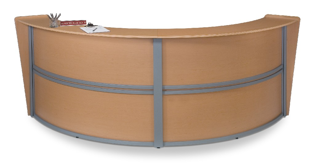 Ofm Marque Double Unit Curved Reception Station Maple